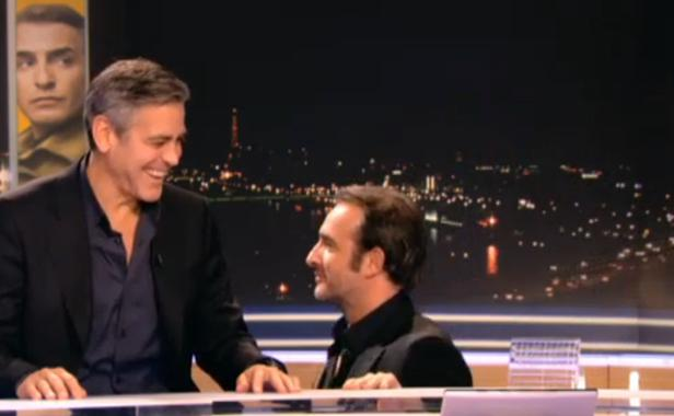 Jean dujardin et george clooney joke around on french for Jean dujardin interview